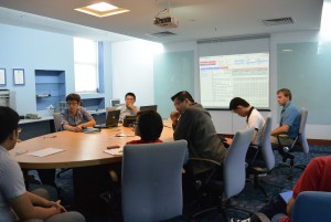 Simon Felhofer at the weekly design staff meeting at the Plexus office in Penang, Malaysia.